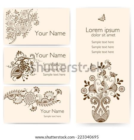 Invitation cards mehndi elements arabesque style stock vector invitation cards with mehndi elements arabesque style design business cards eps10 stopboris Images
