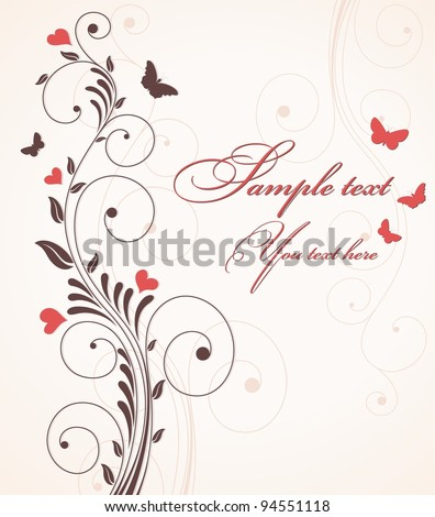 Invitation cards with red hearts and butterflies