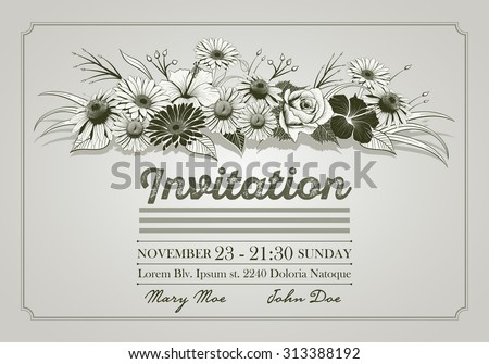 Invitation design template with colorful vintage hand drawn flowers. Elements are layered separately. Two global colors. Easy editable. - stock vector