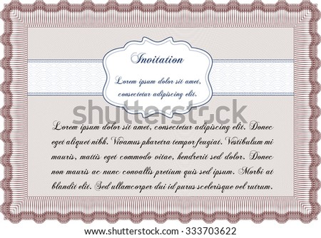 Invitation. Detailed.Complex design. With great quality guilloche pattern.