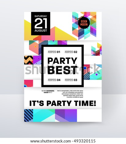 Invitation disco party poster template geometric stock vector invitation disco party poster template with geometric background vector illustration stopboris Image collections