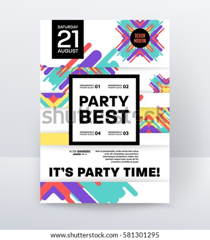 Invitation disco party poster template geometric stock vector 2018 invitation disco party poster template with geometric memphis background vector illustration stopboris Choice Image