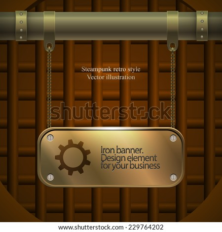 Invitation flyer on retro steampunk party in brown tones. golden plate. Vector illustration - stock vector