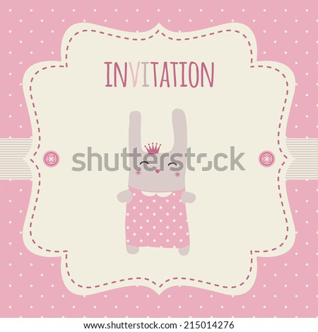 Invitation for a baby shower, party, birthday party etc. Pink and cream colors. Vintage frame with illustration of a sweet bunny princess on a polka dot background.
