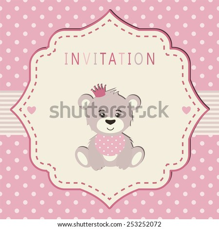 Invitation for a baby shower, party, birthday party etc. Pink and cream colors. Vintage frame with illustration of a sweet bears princess on a polka dot background.