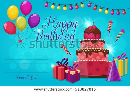 Invitation birthday party festive cake garland stock vector invitation birthday party festive cake garland stock vector 513827815 shutterstock stopboris Choice Image