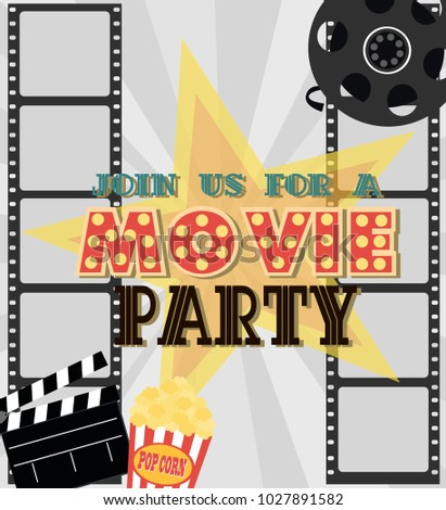 Invitation movie party hollywood party poster stock vector 2018 invitation for movie party hollywood party poster cinema poster vector illustration stopboris Gallery
