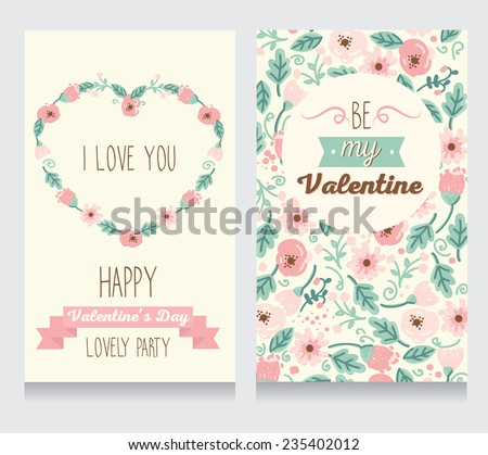 Invitation for Valentine's Day party or wedding day, floral design, vector illustration