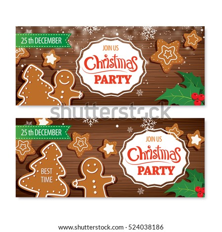 Invitation merry christmas banner and card design template. Homemade gingerbread man cookie theme concept.