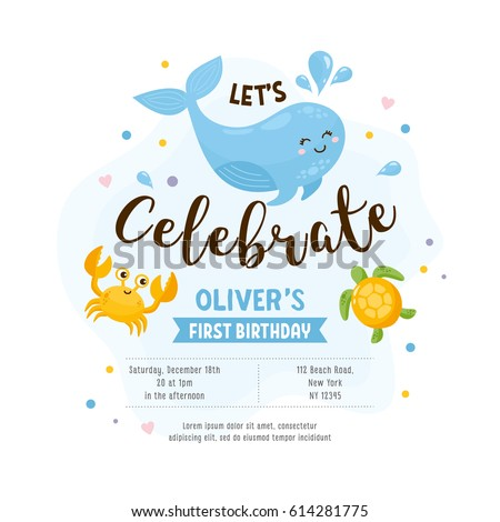 Invitation greeting card template baby shower em vetor stock invitation or greeting card template baby shower happy whale crab turtle stopboris Image collections