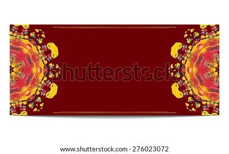 Invitation or greeting card with half circle ethnic ornament on red background