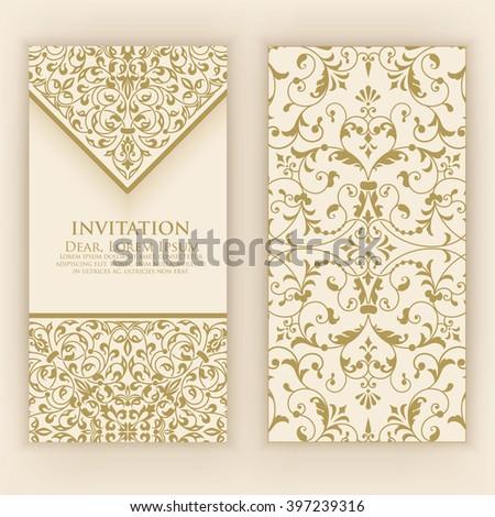Invitation or wedding card with damask background and elegant floral elements. Elegant invitation or wedding card. Design element. eps10 - stock vector