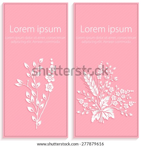 Invitation or wedding card with elegant floral paper cut elements. 3D elements with shadows and highlights. eps 10 - stock vector