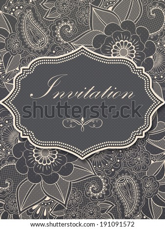 Invitation or wedding card with flower background and elegant floral elements. - stock vector