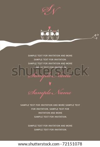 Invitation - owls in love - stock vector