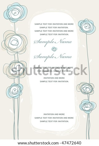 Invitation Panel with loose sketch flower sand text area - stock vector