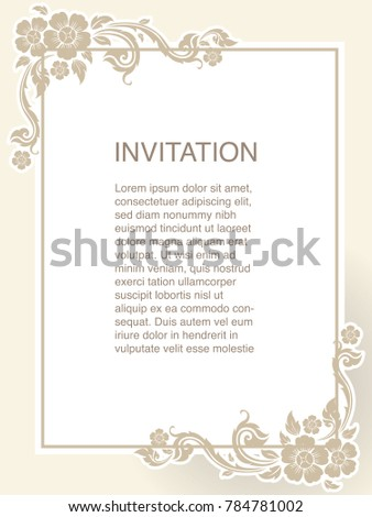 Invitation template frame border vector design stock vector invitation template background and frame border vector design floral decoration in vintage art style illustration stopboris Gallery