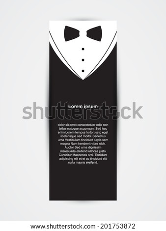 Invitation template, black design with bow tie - stock vector
