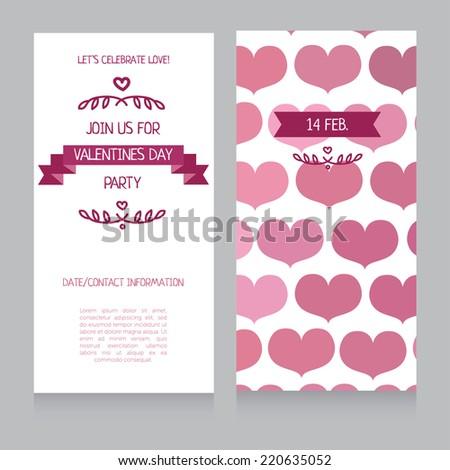 invitation template valentines day vector illustration stock vector