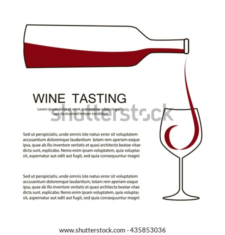 Invitation template for wine testing, event or party. Suitable for tasting events or wine presentation. Simple line design background. Vector eps10 - stock vector