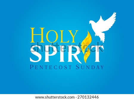 Invitation template in the service of Pentecost in the form of inscriptions Holy Spirit with a white dove over the tongue of flame. Holy spirit dove flame card blue - stock vector