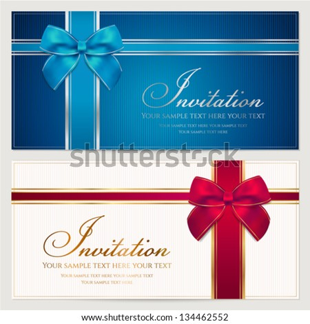 Invitation template with corrugated texture, border and bow (ribbons). Background design usable for gift card / voucher / coupon, certificate, ticket etc. Vector illustration in blue and red colors - stock vector