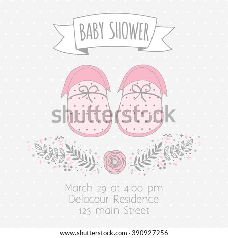 Invitation to a Baby Shower with baby booties and floral design elements. Background polka dot pattern - stock vector