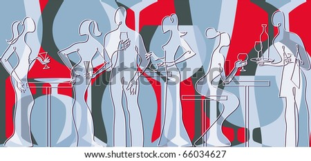 Invitation to cocktail party bar silhouette - stock vector