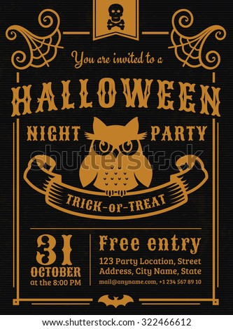 invitation to halloween night party elegant vintage card with gloomy owl vector template in - Halloween Night Party