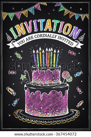 Invitation to the birthday party with a cake, candies and confetti. Freehand drawing with imitation of chalk sketch - stock vector