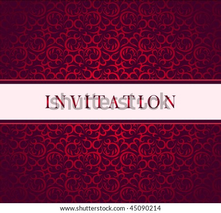 Invitation vector red ornament card - stock vector