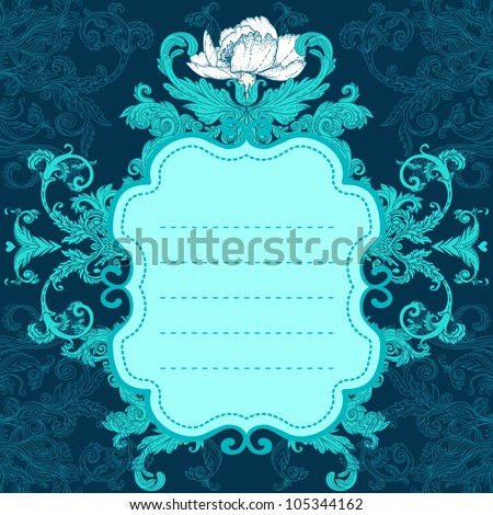 Invitation vintage card. Wedding or Valentine`s Day. Vector illustration in turquoise colors. - stock vector