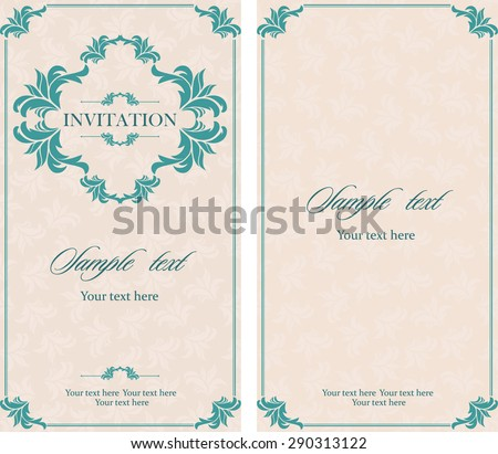 Invitation vintage card with floral and antique decorative elements. Vector illustration
