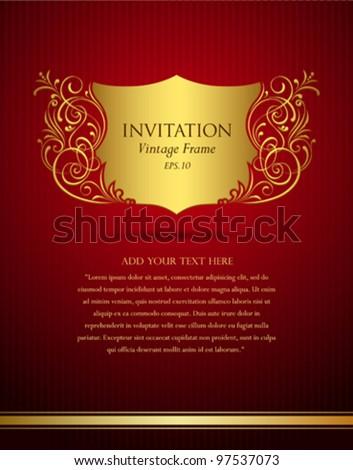 Invitation vintage frame greeting card, Vector illustration - stock vector