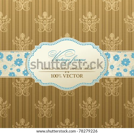 invitation vintage label vector frame pastel - stock vector