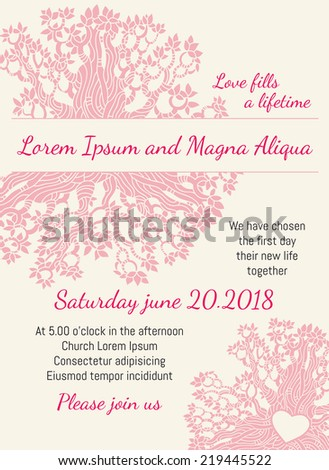 Invitation wedding card pink floral heart vector template. You can use it for invitations, flyers, postcards, cards and so on