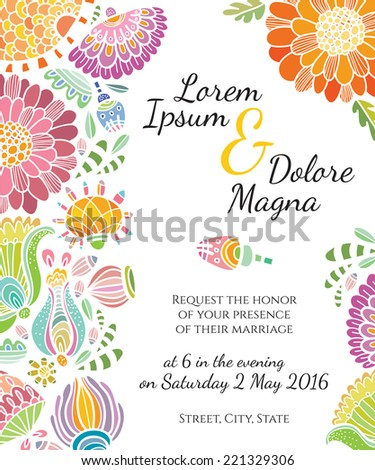 Invitation wedding card vector template - for invitations, flyers, postcards, cards and so on - stock vector