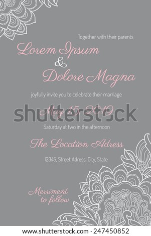 Invitation wedding card with gentle lace vector template - for invitations, flyers, postcards, cards and so on - stock vector