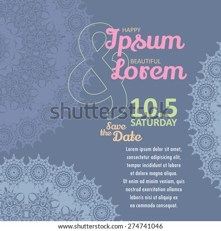 Invitation wedding card with lace vector template - for invitations, flyers, postcards, cards and so on - stock vector