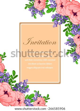 Invitation with floral background - stock vector