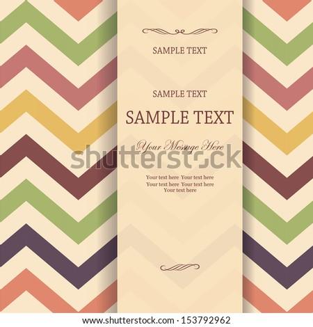 invitation with seamless Vector Chevron Zigzag Background - stock vector