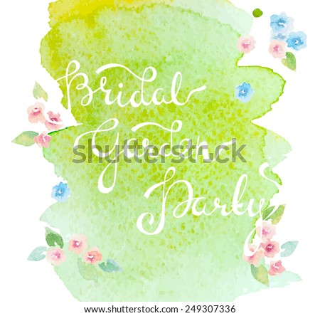 invitation with watercolor elements - stock vector