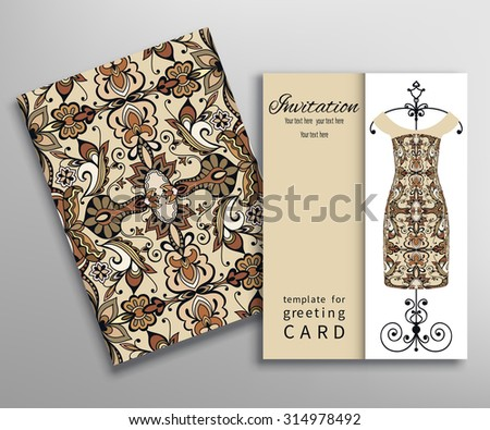 Invitations or Cards with fashion collection, floral seamless texture and women's dress on a hanger. Geometric pattern. - stock vector