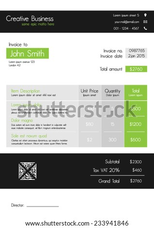 Invoice template - clean modern style of green and grey - stock vector