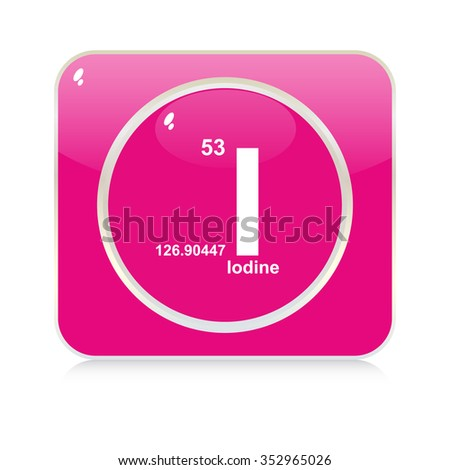 iodine chemical element button - stock vector