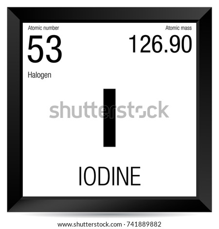 Iodine Symbol Element Number 53 Periodic Stock Vector 741889882