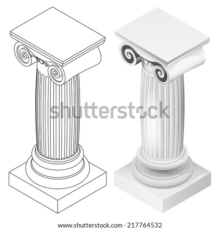 ionic column style isometric view isolated vector illustration - stock vector
