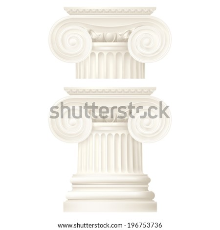 ionic column, vector drawing - stock vector