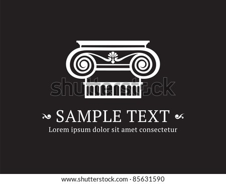 Ionic column vector with sample text - stock vector