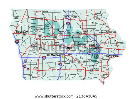 Iowa State Road Map Interstates Us Stock Vector - Us map of interstates
